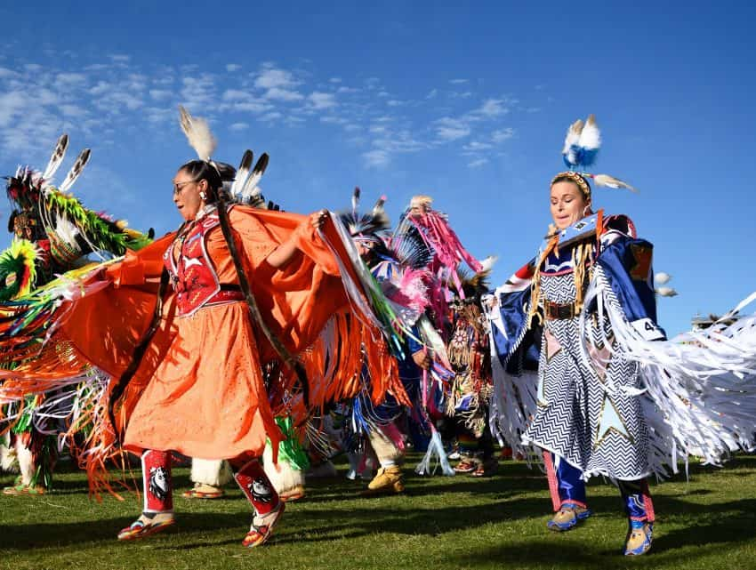 The fancy shawl is one category of dress for Indian women at the powwow.
