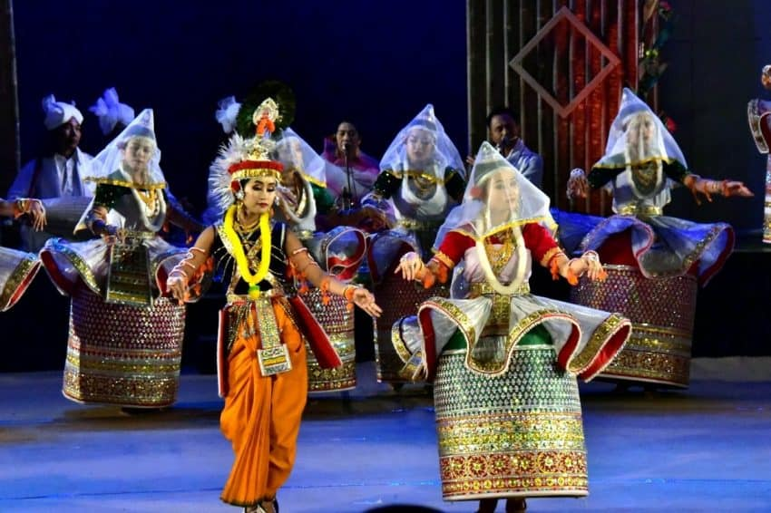 Radha Krishna Dance during Sangai celebrations. Hinduism is the primary religion followed by Manipuris constituting half of the state population.