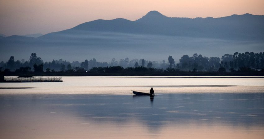 Loktak Lake in the evening. It is the largest lake in North-east India, spanning over an area of 40Sq Km. On the southern side of the lake lies the only floating national park in the world.