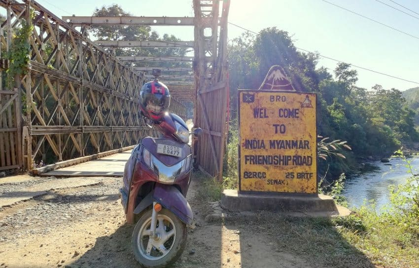 The author's scooter on the India-Myanmar International Border. Indian citizens are allowed to cross the border and visit Myanmar up to 16 kilometers without visa restrictions.
