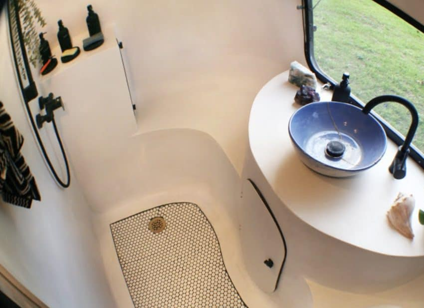 A custom wet bath breaks the mold of a typical cramped RV shower.