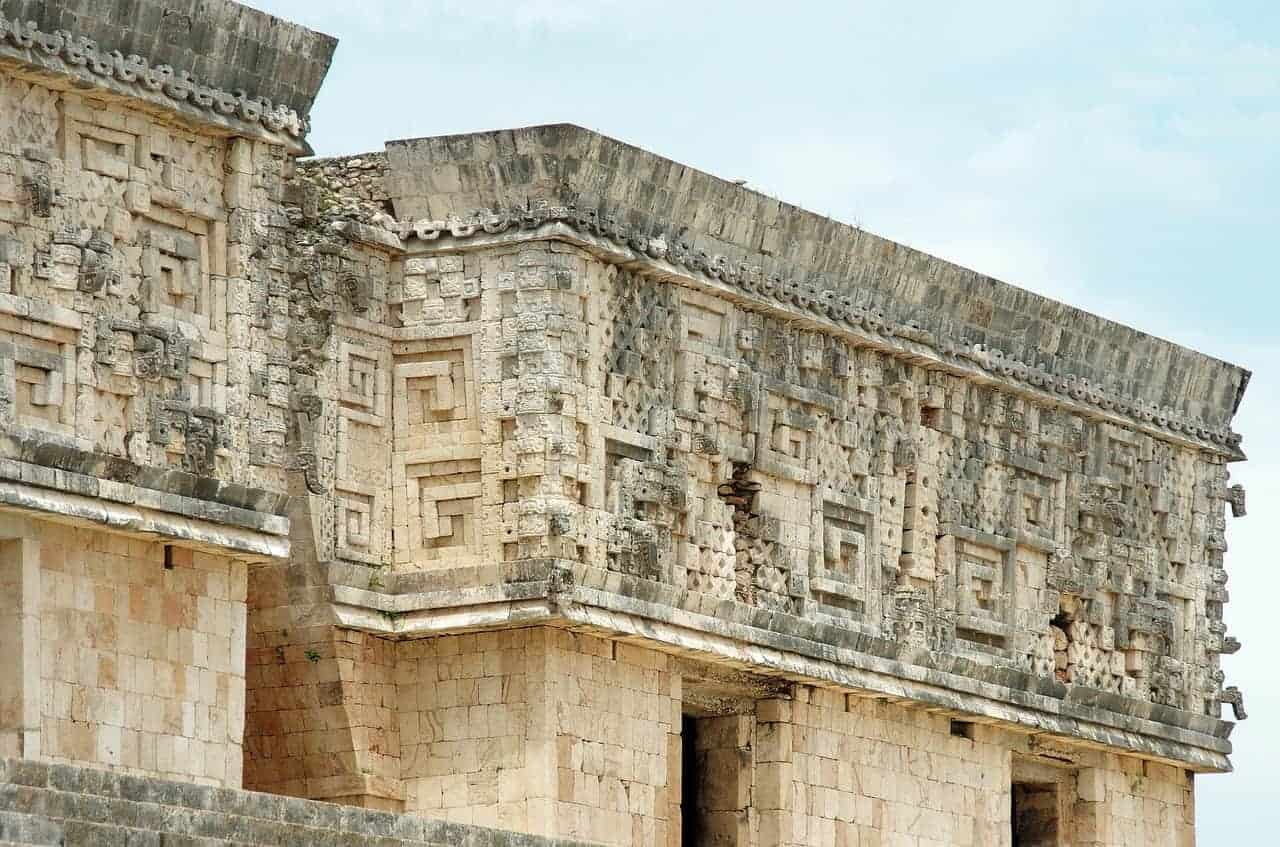 Details of the stone carved buildings at Uxmal.