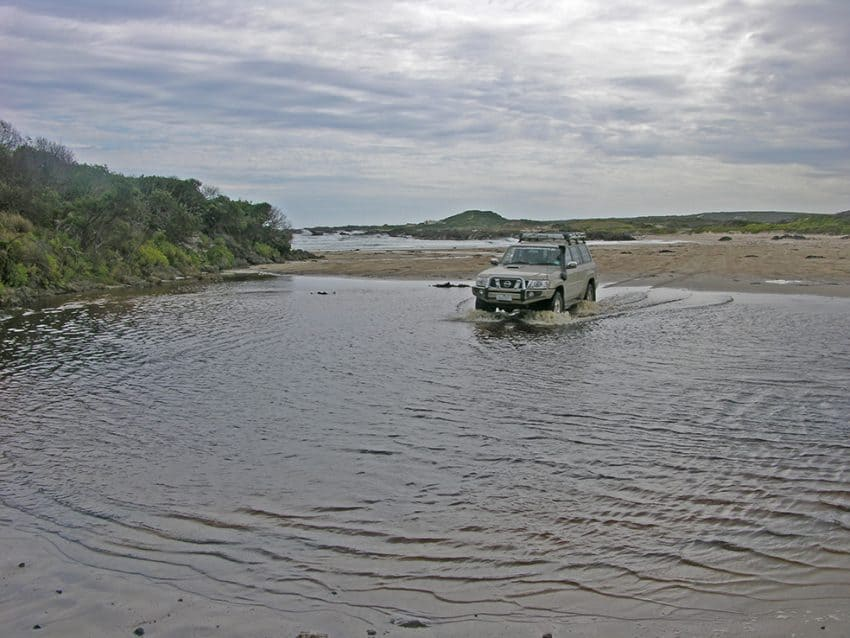 There's a few sandy creeks to cross on way to Sandy Cape, Tasmania
