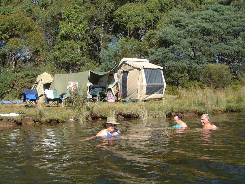 Dee Lagoon camp swim in Tasmania - it's a warm day when you can do this!