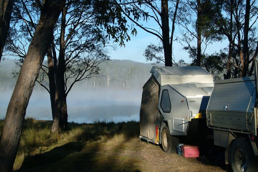 Mist hangs over our Central Plateau camp ©