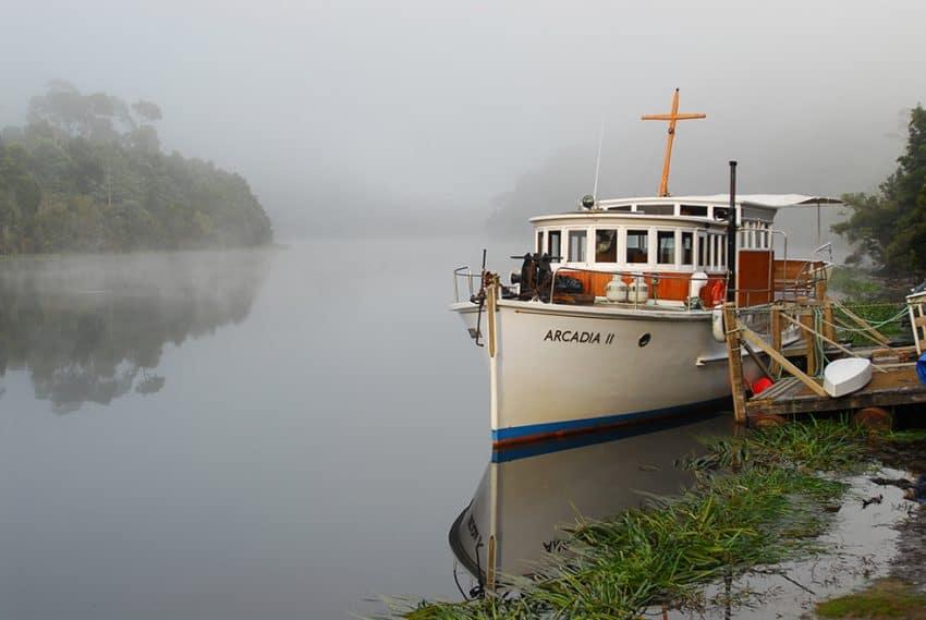 MV Acadia 11, along the Pieman River in Tasmania.