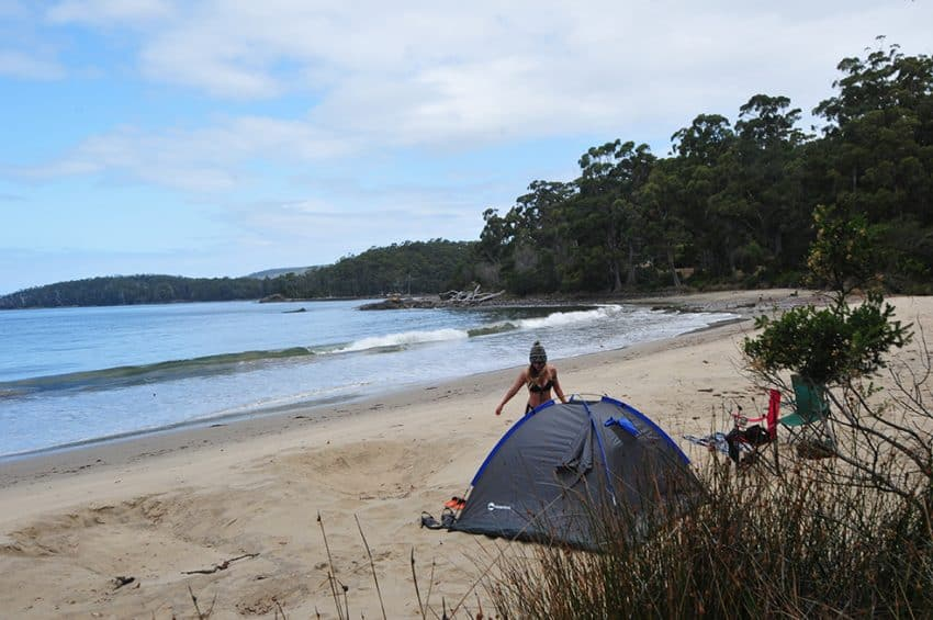 Beach front camping on way to Cockle Creek