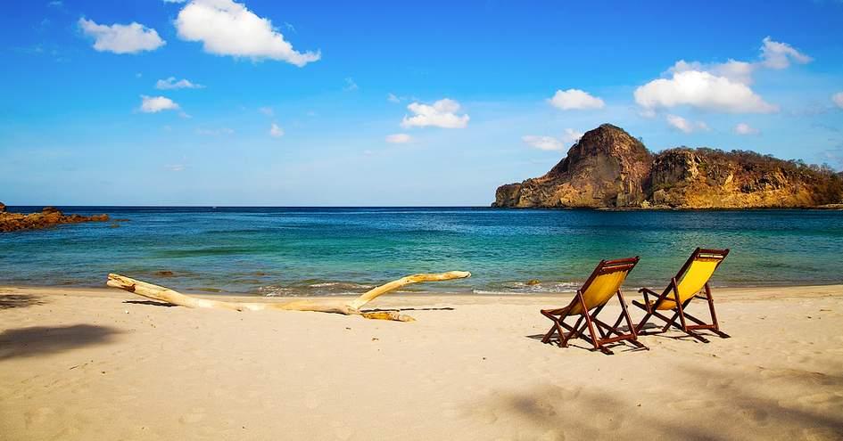 The pocket-sized sandy beach at Aqua Oceanfront Resort in Nicaragua.