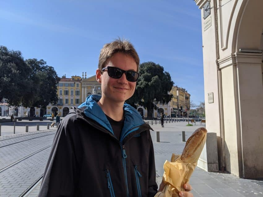 Aren Elliott, the author's son, takes a walk in the Jean-Médecin section of Nice, during the coronavirus lockdown.