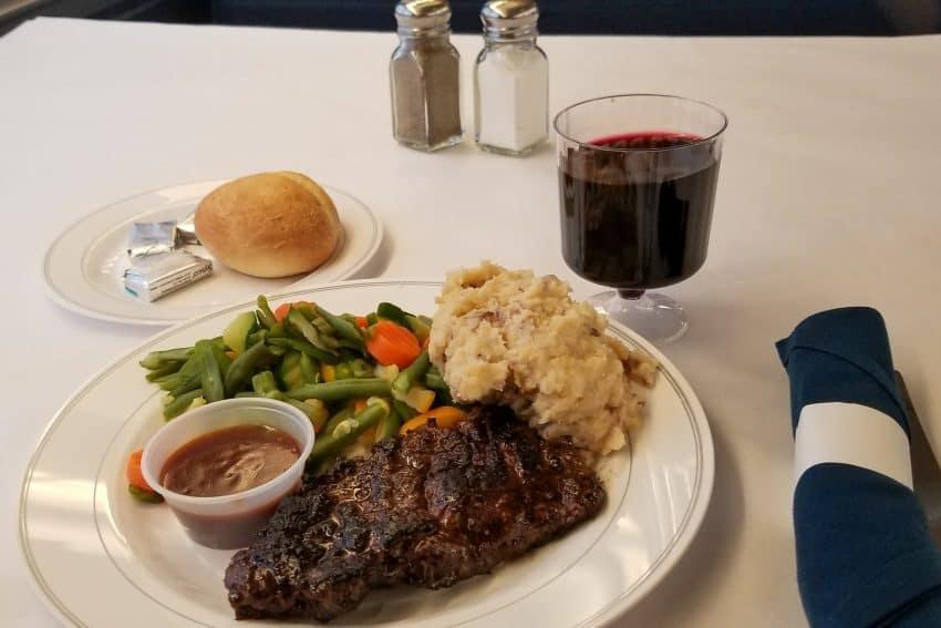 Amtrak's Signature Steak dinner on the train.