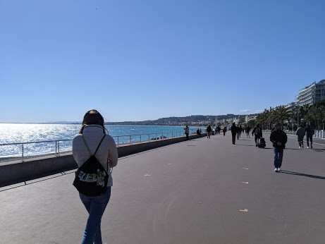 Social distancing on the seafront of Nice.
