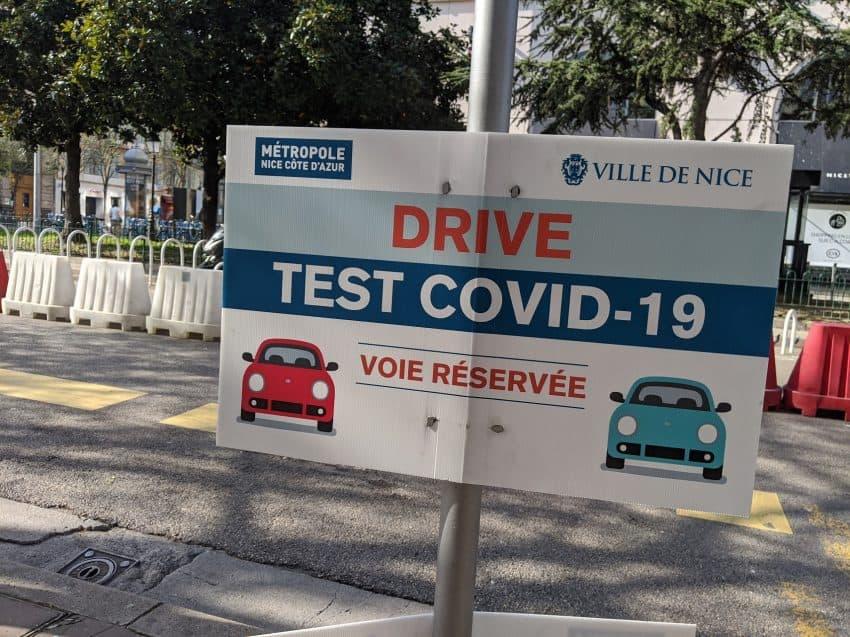 Drive through testing in Nice.