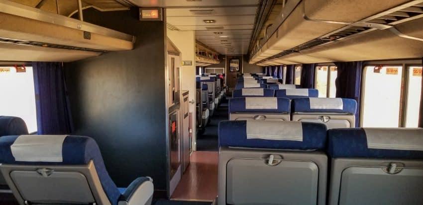 Texas Eagle Amtrak coach car - Empty on April 6, 2020