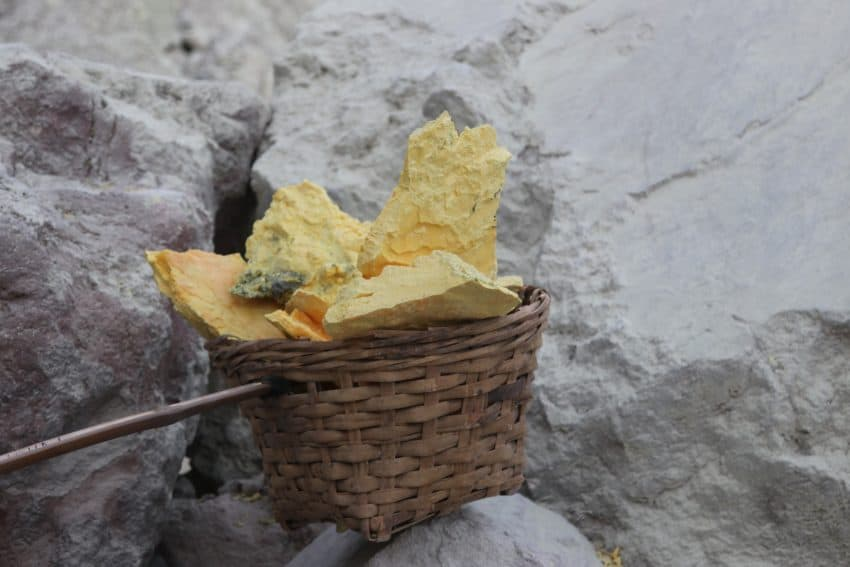 A basket of sulfur at the Ijen Crater.