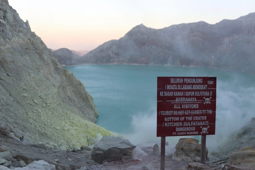 Sign warning about the dangers in the Ijen Crater