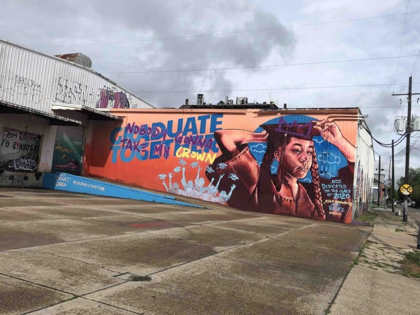 Artist @BMike2C created a #GraduateTogether mural during the Covid shutdown