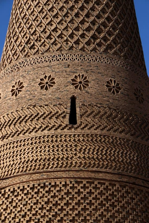 A close up of the Emir Minaret. Islamic and Uyghur traditions mixed in the patterns.