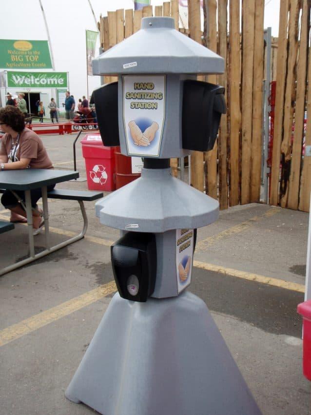Hand sanitizing station in Jamaica.