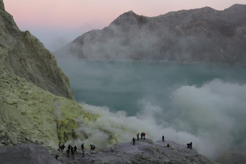 Hikers at the bottom of the Ijen Crater in East Java.