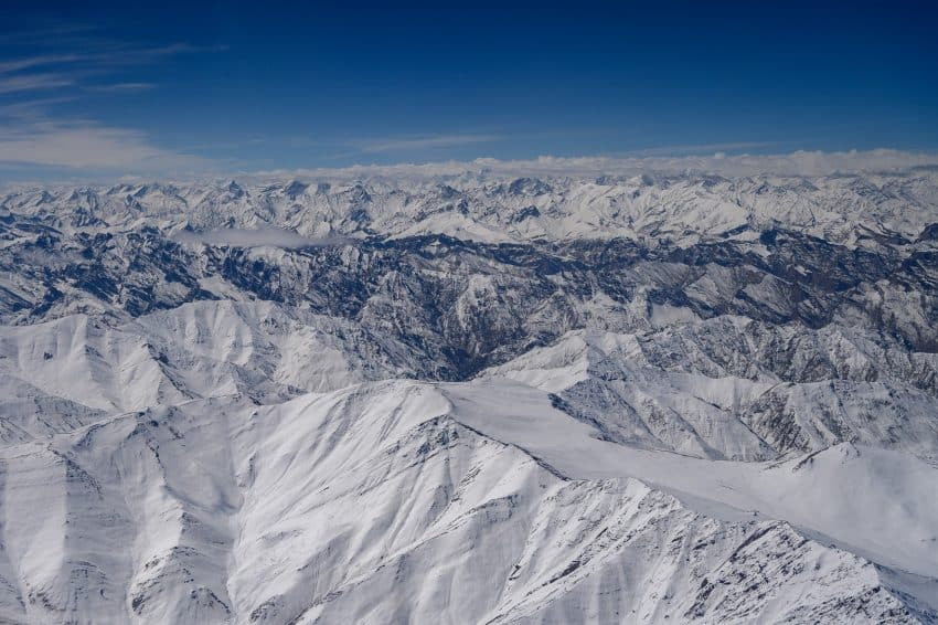 On a clear day during the one-hour flight from Delhi to Ladakh, the Himalayas fill the view as far as the eye can see.