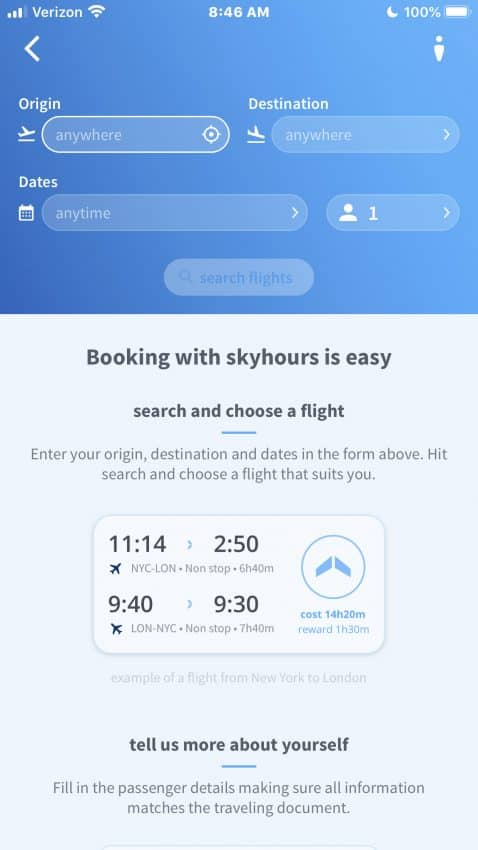The Skyhour app interface is clean and simple.