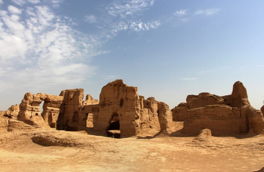 A bit of shade in the ancient Jiaohe ruins.