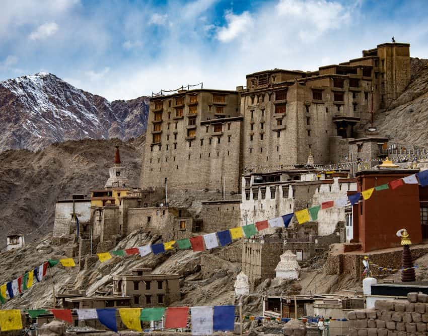 Leh Palace in Ladakh's capital city is a former royal palace and is currently under restoration. It's possible to visit the palace, part of which is a museum that holds over 450 artifacts.