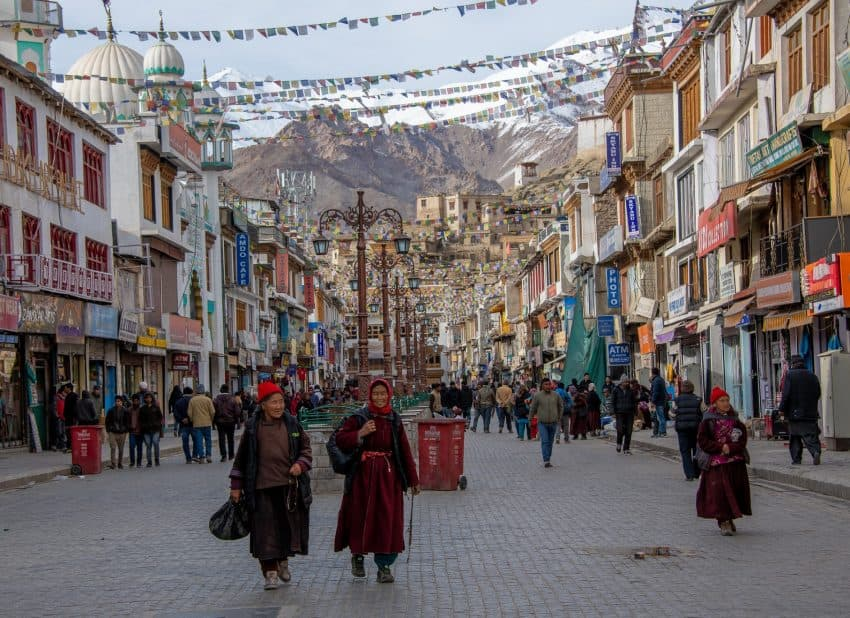 Leh, the capital of Ladakh, sees a steady stream of locals on the main shopping street, dressed for colder temperatures in late March. Donnie Sexton photos.