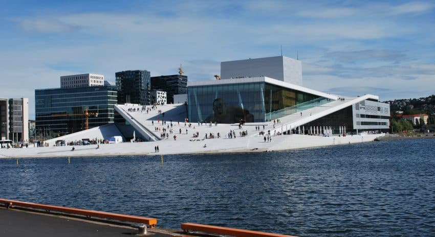 The Oslo Opera House is in close proximity to the Deichmann Public Library