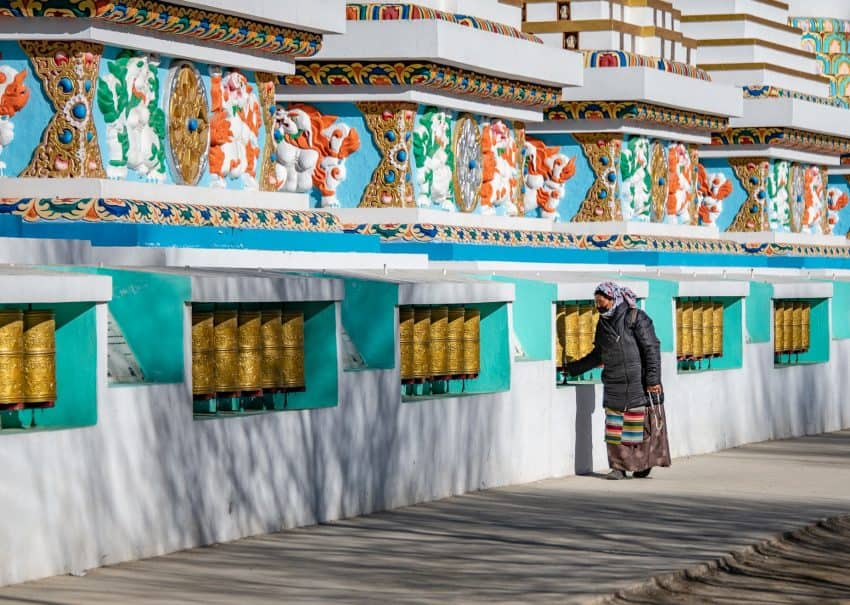 These prayer wheels are located on the grounds of Shewatsel Phodrang, the Ladakh residence of the 14th Dalai Lama.