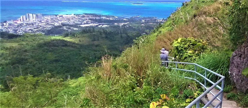 The hike up Mt. Tapochau, the highest point on Saipan and Japanese observation post during the battle, offers scenic views of Garapan, largest city in the Northern Marianas and the commonwealth's capital.