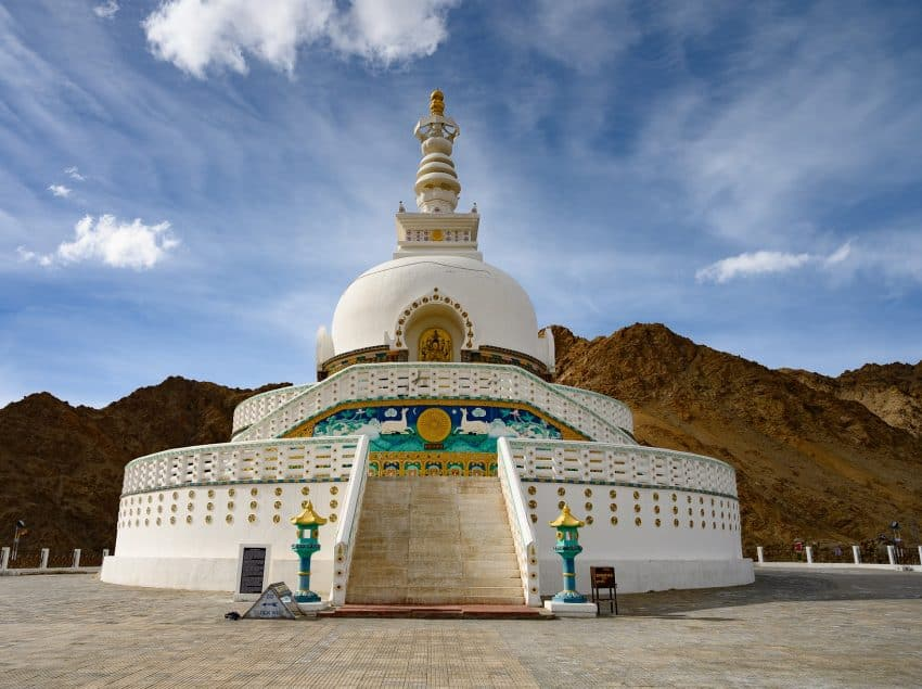 Perched on a hilltop, the Shanti Stupa was built in 1991 by a Japanese Buddhist monk. It's a popular stop for visitors due to the sweeping views it affords of the surrounding landscape.