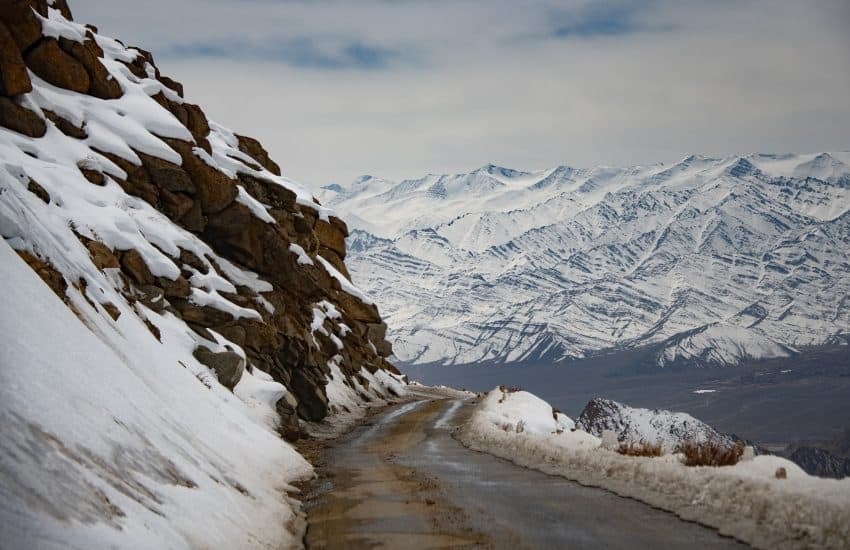 A snowy road in the Himalayas near Ladakh. Donnie Sexton photo. Gadgets and gizmos for future travel.