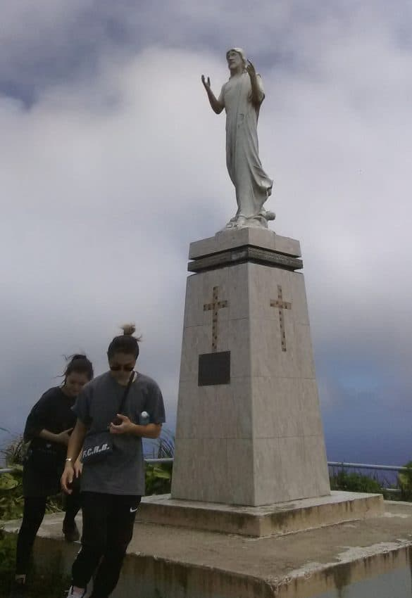 Statue of Jesus at the top of Mt. Tapochau, on Saipan, which was overrun by U.S. forces by the end of June, 1944.