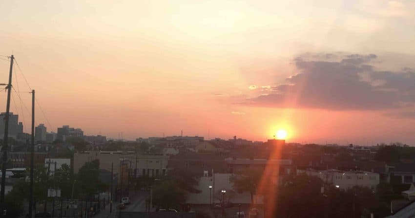 Sunset from Marigny in New Orleans. Tanya Birch photos.