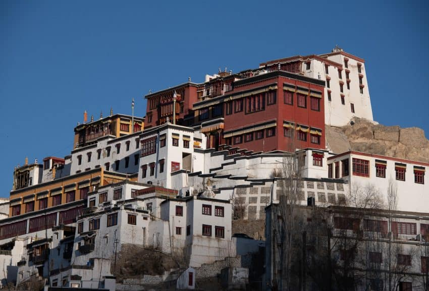 Thiksey Monastery, the largest in central Ladakh, is home to the Gelug sect of Tibetan Buddhism. Its twelve stories cascade down the mountainside.