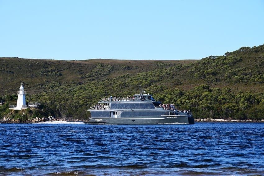 The cruise boat from Strahan goes out as far as Macquarie Heads on its daily cruise