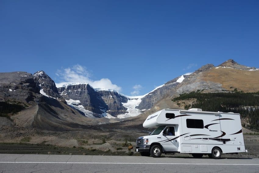 The Class A RV has a signature overhang for more storage. RV share photo