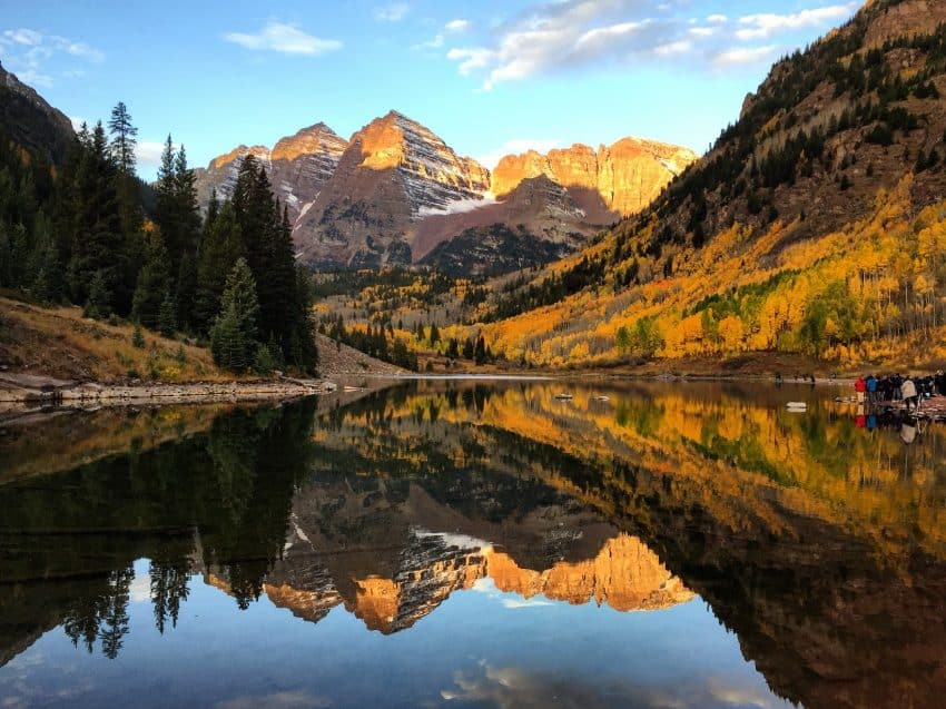 The Maroon Bells in Aspen, Colorado, just a couple minutes walk from the parking lot (with photographers on the right ready to be cropped out)