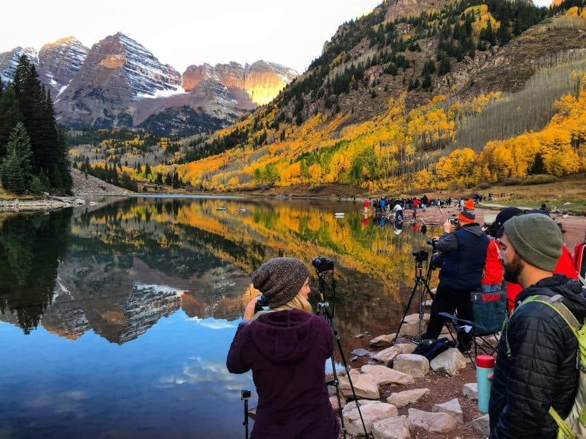 The Maroon Bells near Aspen, Colorado, very near the parking lot at 7 am, with the photographers left in.