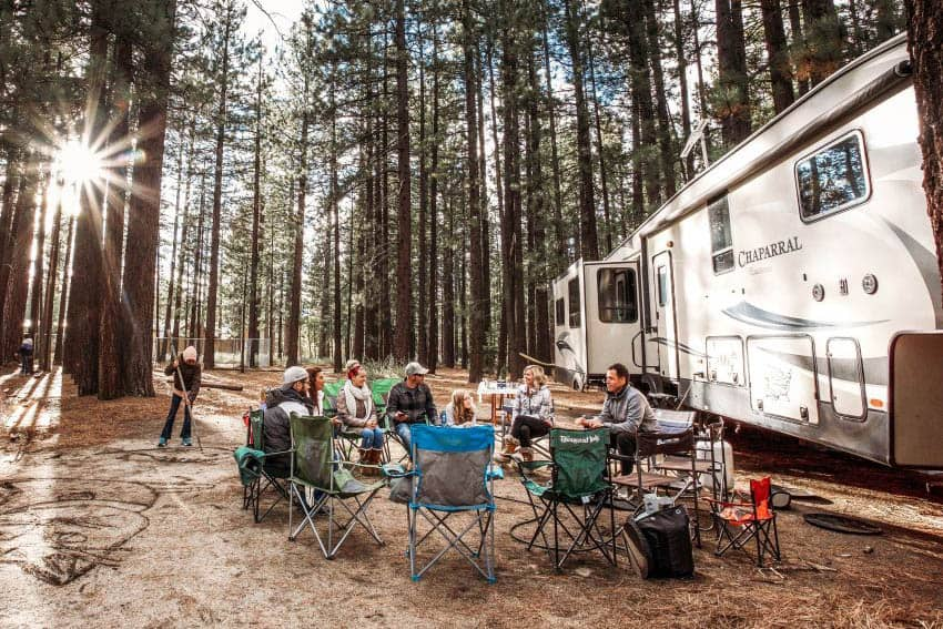 RVs provide the opportunity to home base at any campground. renting an RV from RVShare.com is a great way to save.