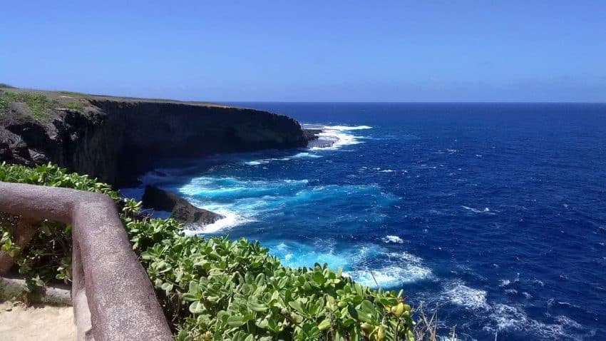 Banzai Cliff, which was the scene of a suicide charge into American lines on Saipan.