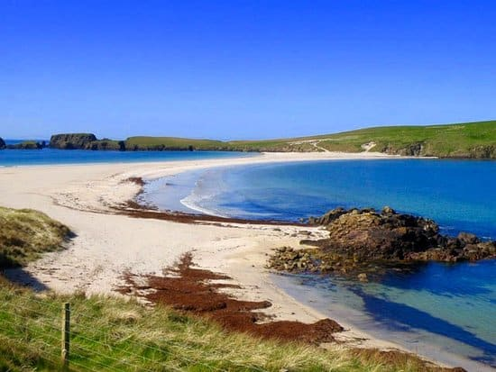 St Ninian's tombolo, a narrow peninsula connecting an island, in the Shetland Islands.