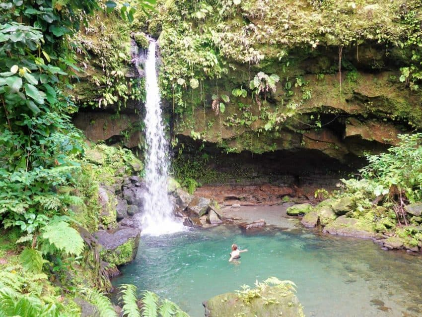 A pretty waterfalls and swimming pool on Dominica