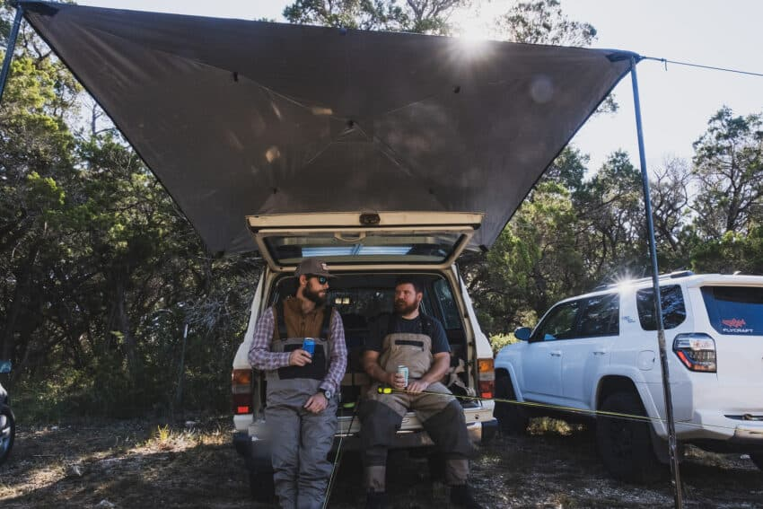 The Moon RV Awning attaches to the side of your RV with powerful magnets, it folds up to a small size for packing.