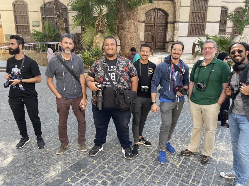 The Raw Shooters, a photographer club in Jeddah, in front of the Naseef House, former home of Ibn Saud, considered the father of Saudi Arabia.