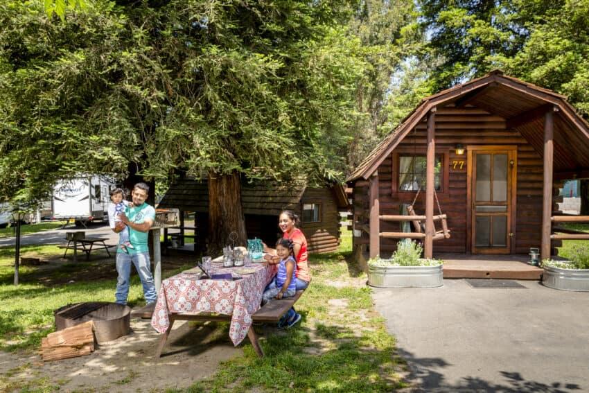 Family camping at San Francisco North/ Petaluma KOA Campground.