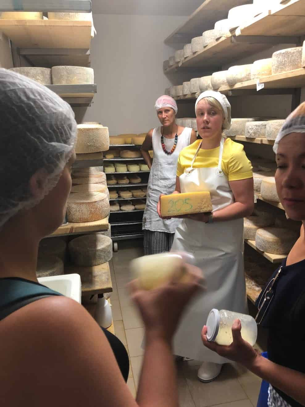 A cheesemaker explains how she makes her cheese in Trentino.
