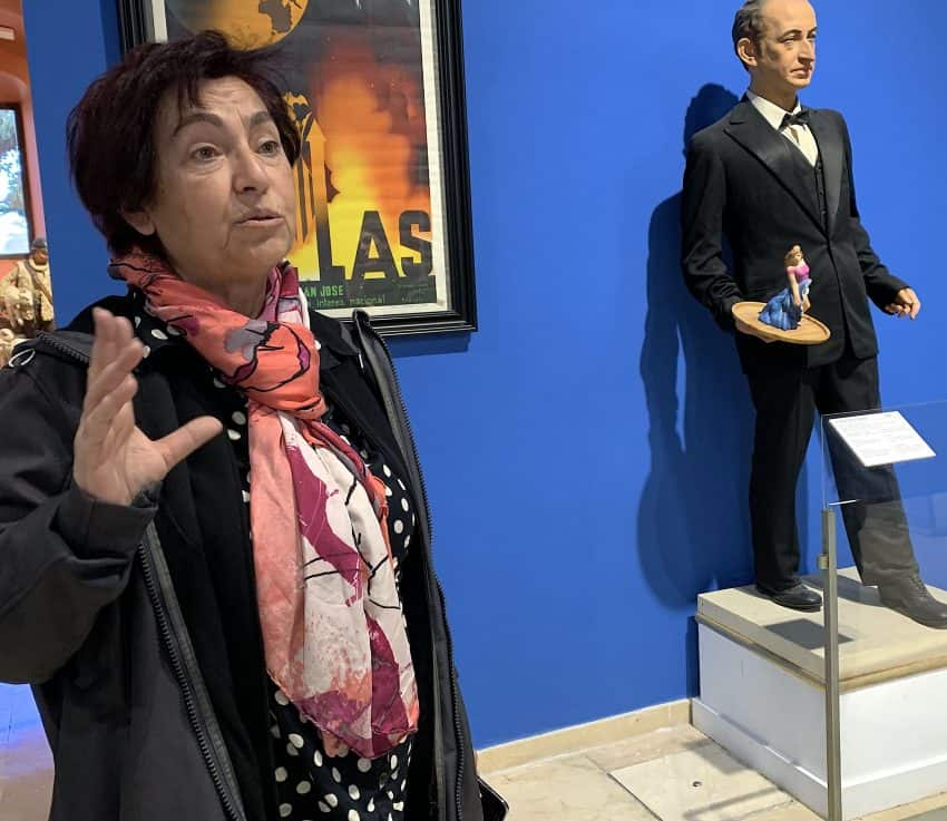 Museum coordinator Vicenta Expósito explains the history of Fallas
