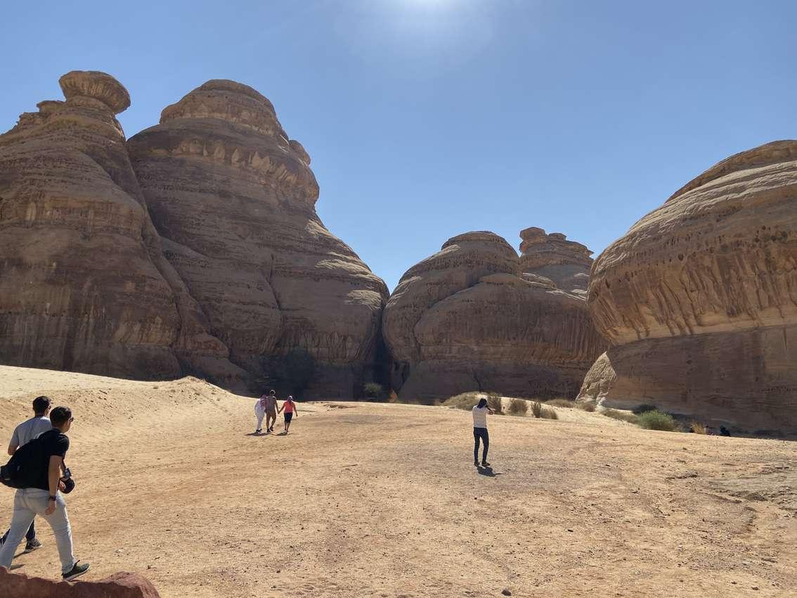 Striking formations at Madain Saleh, Saudi Arabia.